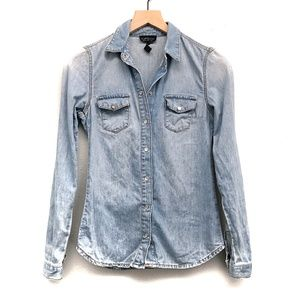 Topshop Chambray Light Blue Shirt - Size 2